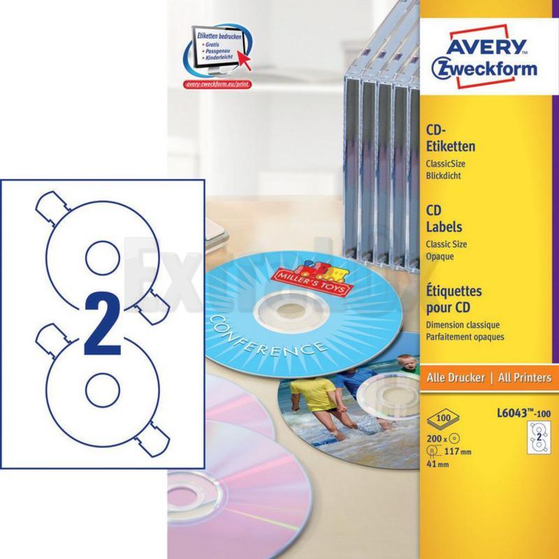 ETIKETE AVERY ZWECKFORM L6043 FI 117MM ZA CD CLASIC SIZE 1/100