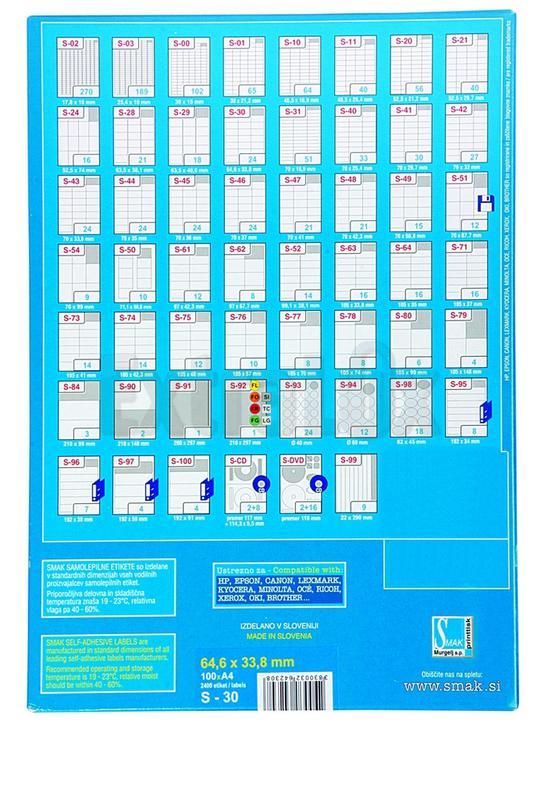 ETIKETE SMAK S-11 48,5X25,4 1/100