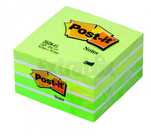 SAMOLEPILNA KOCKA POST-IT 3M 2028-G 76X76 ZELENO-BELA 450L