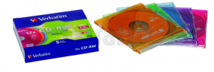 CD-RW VERBATIM 700MB 80MIN 8-12X COLOUR SLIM 1/1