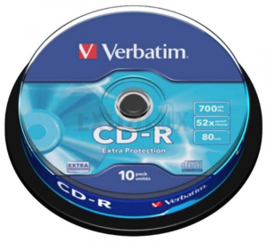 CD-R VERBATIM EXTRA PROTECTION 700MB 80MIN 52X TORTICA (43437) 1/10
